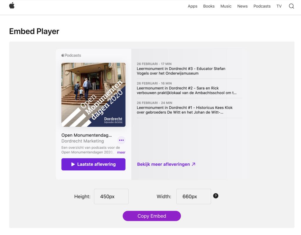 iTunes embed player voor onze klant Dordrecht Marketing